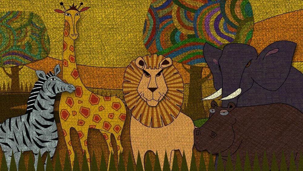儿童版画-森林里的动物