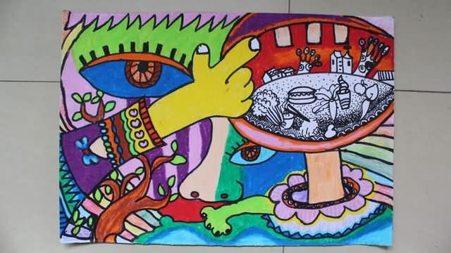 大嘴的世界简笔画 大嘴的世界图片欣赏 大嘴的世界儿童画画作品