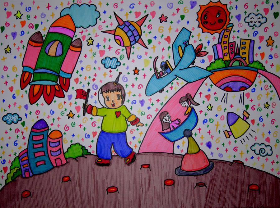 儿童画画 儿童版画 未来星球儿童画画