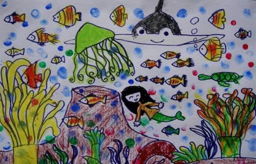 儿童画画 儿童版画 大海里的鱼儿儿童画画