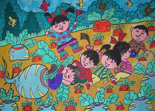 大家一起拔萝卜简笔画 大家一起拔萝卜图片欣赏 大家一起拔萝卜儿童