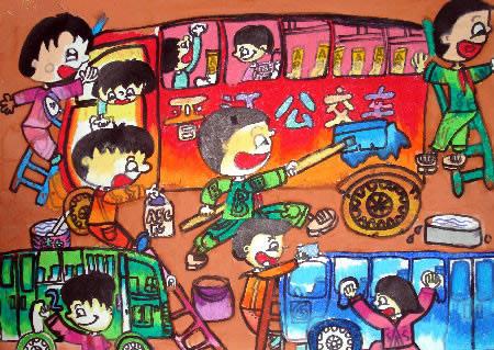 儿童版画-我们的公交车图片