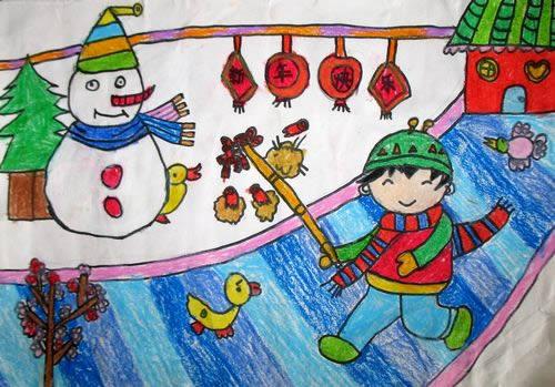 过新年简笔画 过新年图片欣赏 过新年儿童画画作品