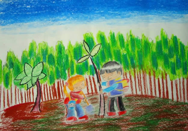 儿童版画-我们和小树一起成长
