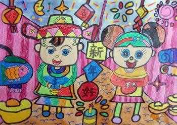 大家新年好简笔画 大家新年好图片欣赏 大家新年好儿童画画作品