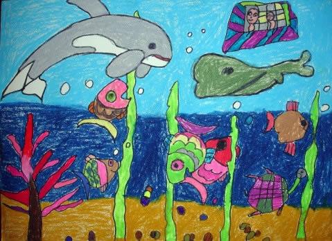 小鱼的一家简笔画 小鱼的一家图片欣赏 小鱼的一家儿童画画作品