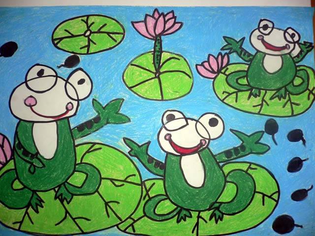 儿童版画-青蛙在唱歌