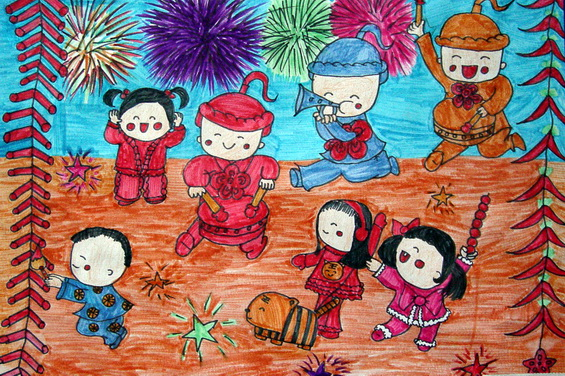 开心过大年简笔画 开心过大年图片欣赏 开心过大年儿童画画作品
