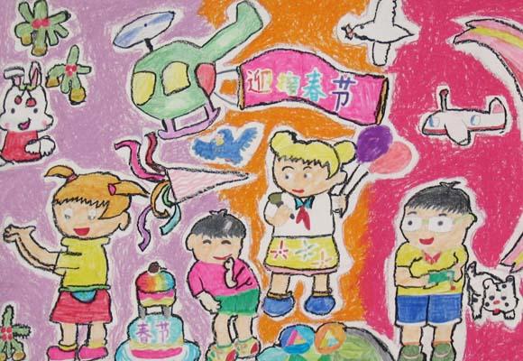 迎接春节简笔画 迎接春节图片欣赏 迎接春节儿童画画作品