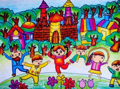 我们的美好生活简笔画 我们的美好生活图片欣赏 我们的美好生活儿童画画作品