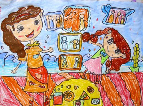 儿童版画-妈妈为我们做早饭图片