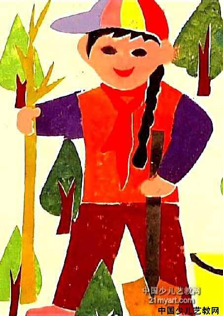 植树简笔画_植树图片欣赏_植树儿童画画作品-有伴网