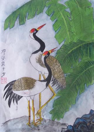儿童版画-想飞的丹顶鹤