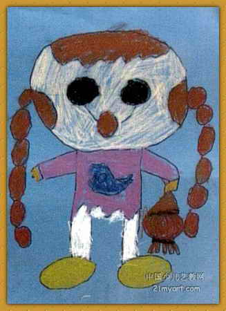 儿童画画 儿童版画 《红辫子姐姐》儿童画画