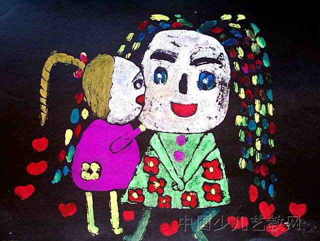 儿童版画-《我爱老师》