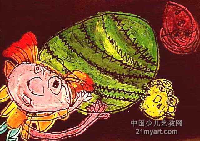 我请奶奶姥姥吃西瓜 简笔画 我请奶奶姥姥吃西瓜 图片欣赏 我请奶奶姥姥吃西瓜 儿童画画作品
