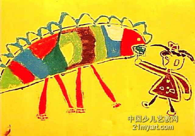 我和恐龙 简笔画 我和恐龙 图片欣赏 我和恐龙 儿童画画作品