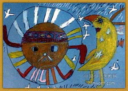 太阳 哥哥 和 月亮 妹妹 简笔画 太阳 哥哥 和