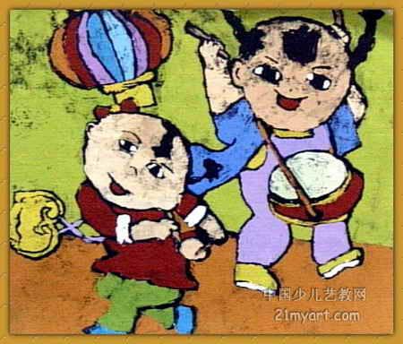 打鼓迎春节 简笔画 打鼓迎春节 图片欣赏 打鼓迎春节 儿童画画作品
