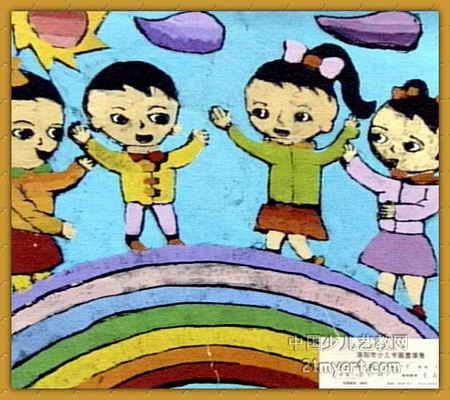 彩虹桥 简笔画 彩虹桥 图片欣赏 彩虹桥 儿童画画作品