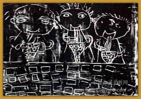 儿童画画 儿童版画 《我与爸爸妈妈吃拉面》儿童画画  上一张下一张下