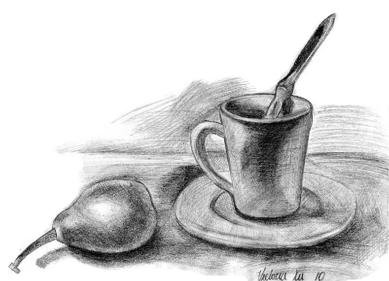 儿童素描画大全:梨和茶杯-少儿兴趣-无忧考网