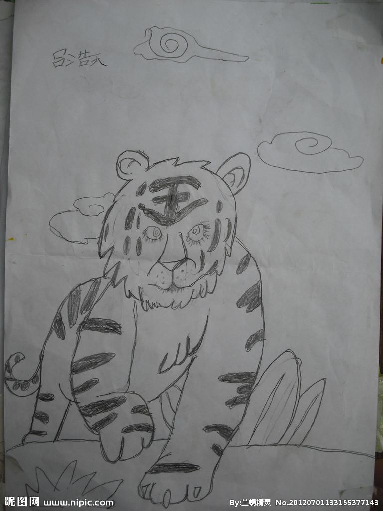 绘画霸气老虎手绘