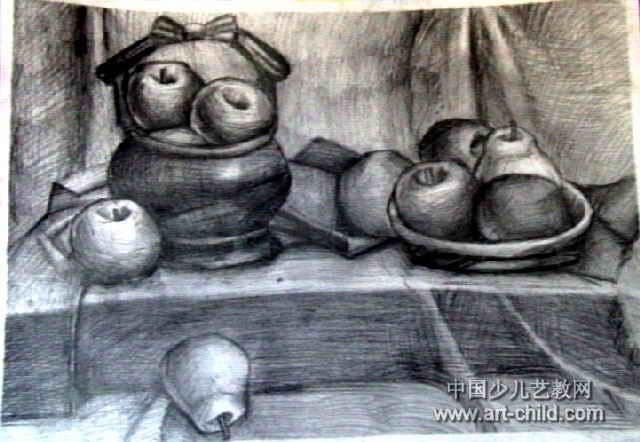 儿童画 水果 房鹏程/素描/《水果写生》