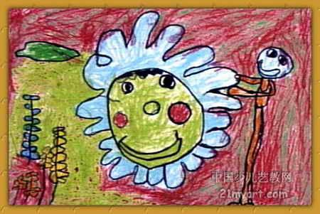 蜡笔画-《我和太阳公公交朋友》