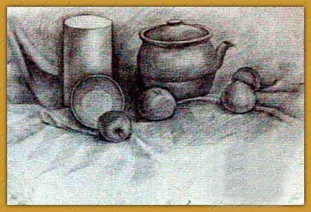 儿童画 《水果陶瓷》/素描/《水果陶瓷》