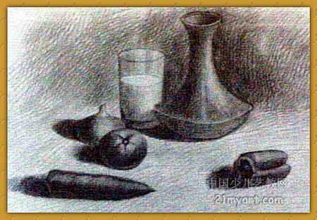 《蔬菜与陶瓶》简笔画