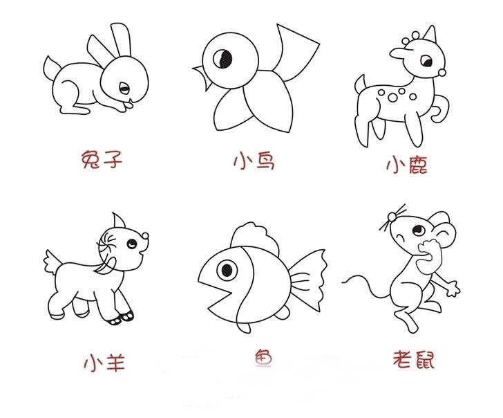 小动物简笔画_小动物图片欣赏_小动物儿童画画作品-有
