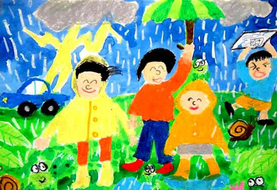 快乐的雨天简笔画 快乐的雨天图片欣赏 快乐的雨天儿童画画作品