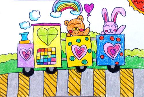 优秀儿童水彩画图片:小动物坐火车