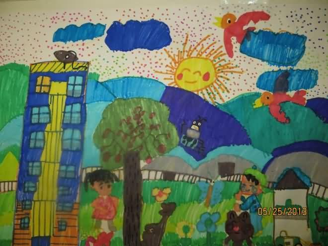 和谐之家简笔画 和谐之家图片欣赏 和谐之家儿童画画作品