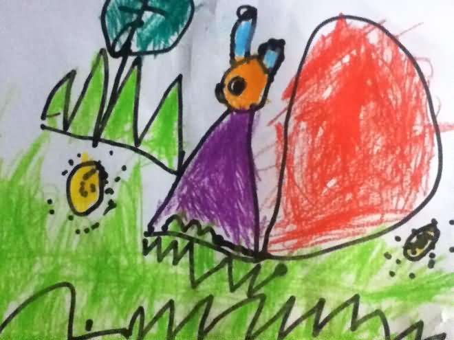 儿童画画 水彩画 散步的小蜗牛儿童画画