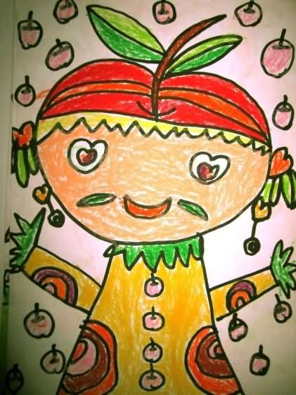 水彩画-可爱的苹果宝宝