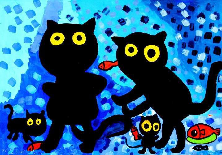小猫吃鱼简笔画 小猫吃鱼图片欣赏 小猫吃鱼儿童画画作品