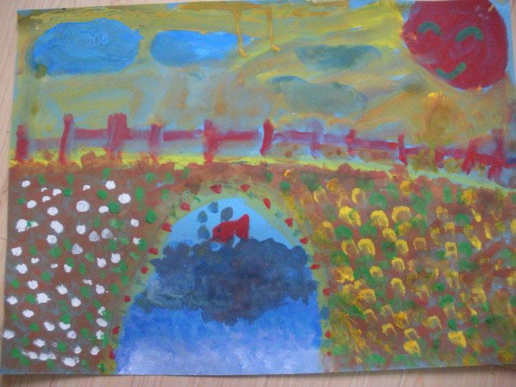 桥边简笔画 桥边图片欣赏 桥边儿童画画作品