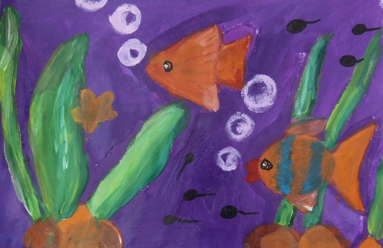 金鱼儿童水粉画作品图-小鱼世界简笔画 小鱼世界图片欣赏 小鱼世界儿童画画作品