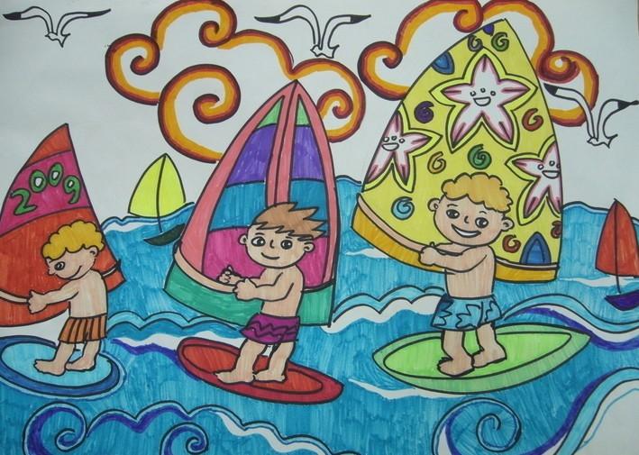 风帆运动简笔画 风帆运动图片欣赏 风帆运动儿童画画作品