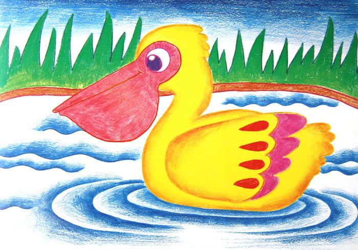 鸭子儿童画画作品-有伴网