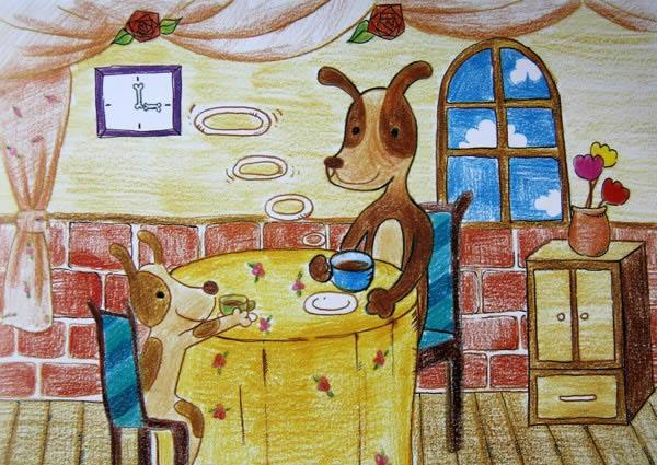 丰盛的晚餐简笔画