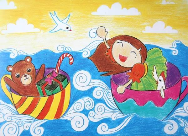 杯子的旅行简笔画 杯子的旅行图片欣赏 杯子的旅行儿童画画作品