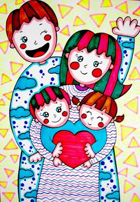 全家福简笔画 全家福图片欣赏 全家福儿童画画作品