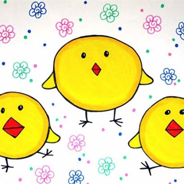 水彩画之三只小黄鸡 -三只小黄鸡简笔画 三只小黄鸡图片欣赏 三只小黄