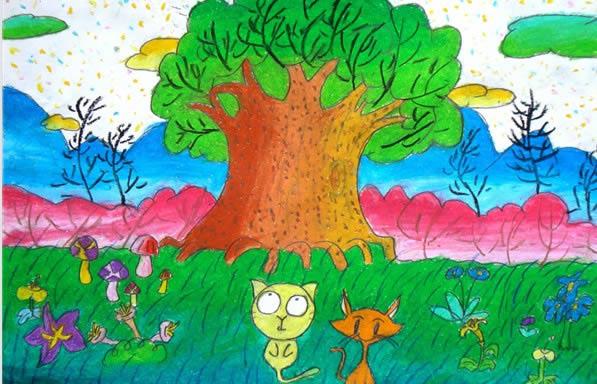 儿童画画 水彩画 生机勃勃的春天儿童画画