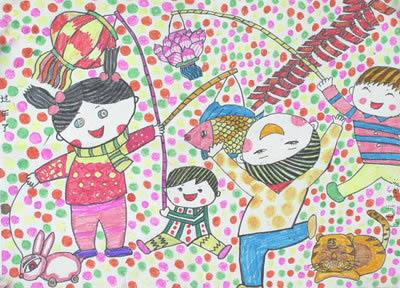 开心过新年简笔画 开心过新年图片欣赏 开心过新年儿童画画作品