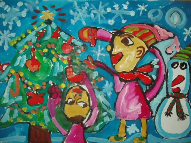 水彩画 圣诞节怀想
