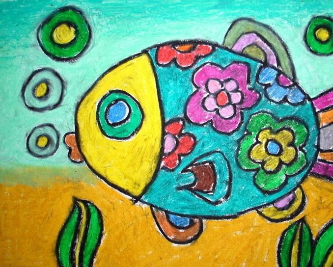 畅游的小金鱼简笔画 畅游的小金鱼图片欣赏 畅游的小金鱼儿童画画作品
